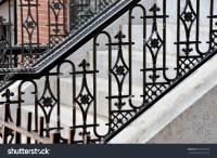 Iron Railing Doorsteps Classic Handrail Side Stock Photo ...