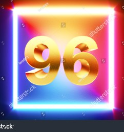 isolated golden number 96 frame in neon yellow fuchsia cyan and blue colors on [ 1500 x 1101 Pixel ]