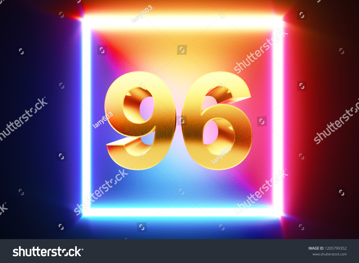 hight resolution of isolated golden number 96 frame in neon yellow fuchsia cyan and blue colors on