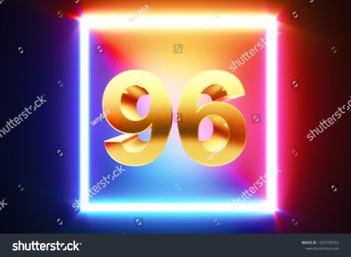 small resolution of isolated golden number 96 frame in neon yellow fuchsia cyan and blue colors on