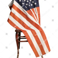 American Flag Chair Stool High Isolated On White An Is Draped Over A