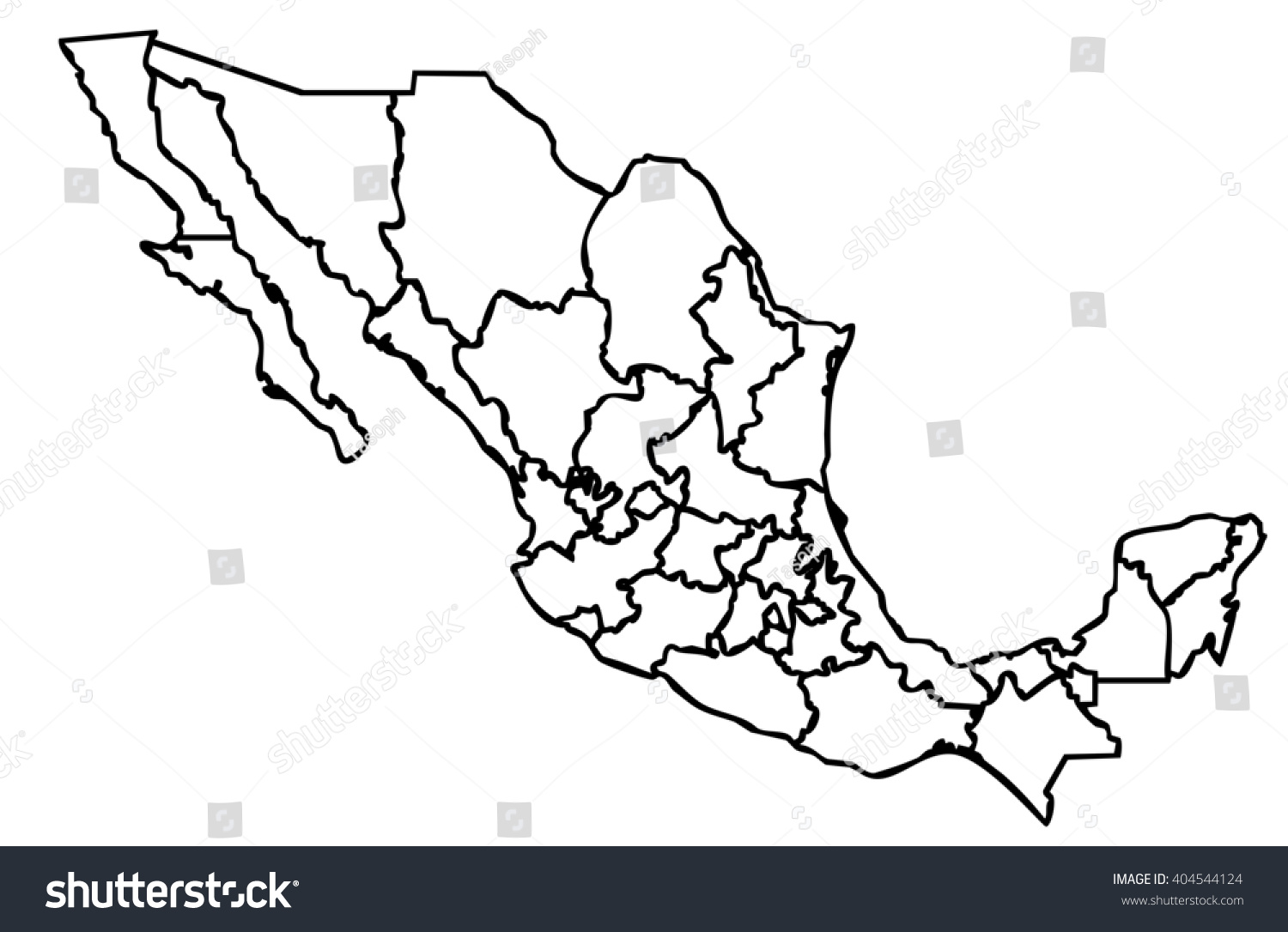 Isolated Political Mexican Map Mexico State Stock