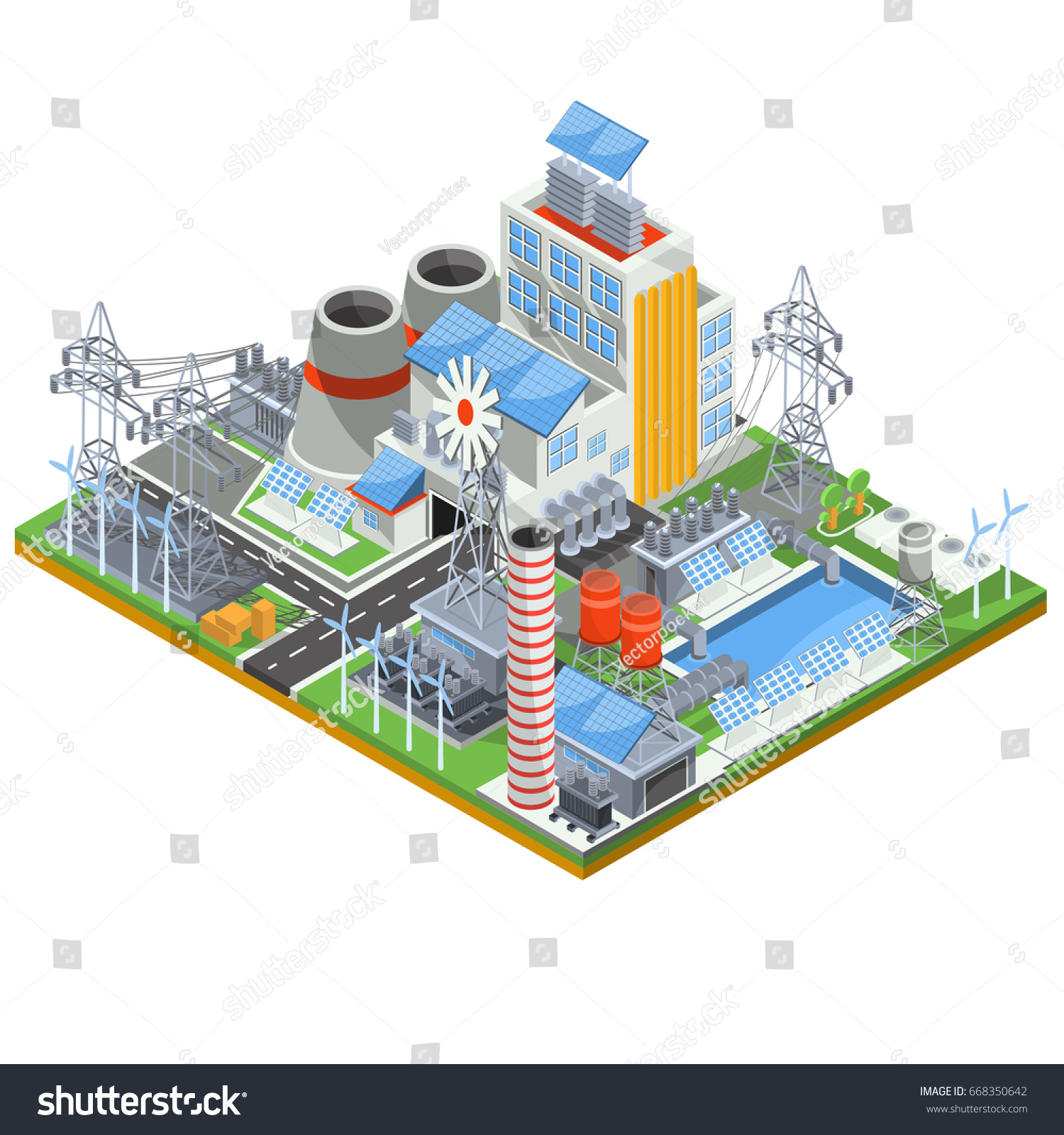 hight resolution of isometric illustration of a thermal thermal power plant running on alternative sources of energy the