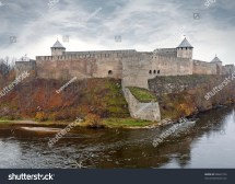 Ivangorod Fortress Narva River Border Stock