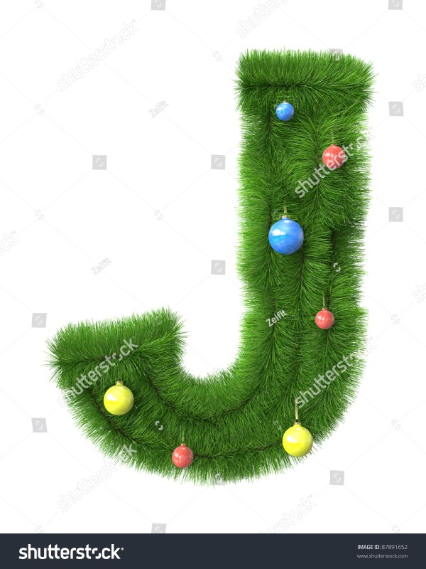 J Letter Made Christmas Tree Branches Stock Illustration ...