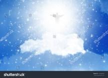 Jesus Christ Blue Sky Clouds Heaven Stock Illustration