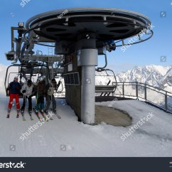 Ski Chair Lift Yellow Folding Covers Kasprowy Mountain Resort In A Valley Of