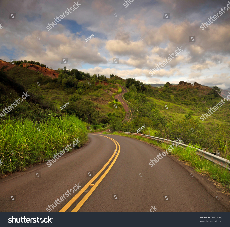 Kauai - Hawaii - Serpentine Road Winding Through The Mountains Stock Photo 20202400 : Shutterstock