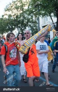 Kharkov, Ukraine - April 17, 2012: Dutch Fans With A Scarf ...