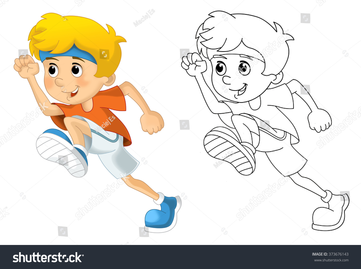 Kids Sport Gymnastics Running Coloring Page Stock
