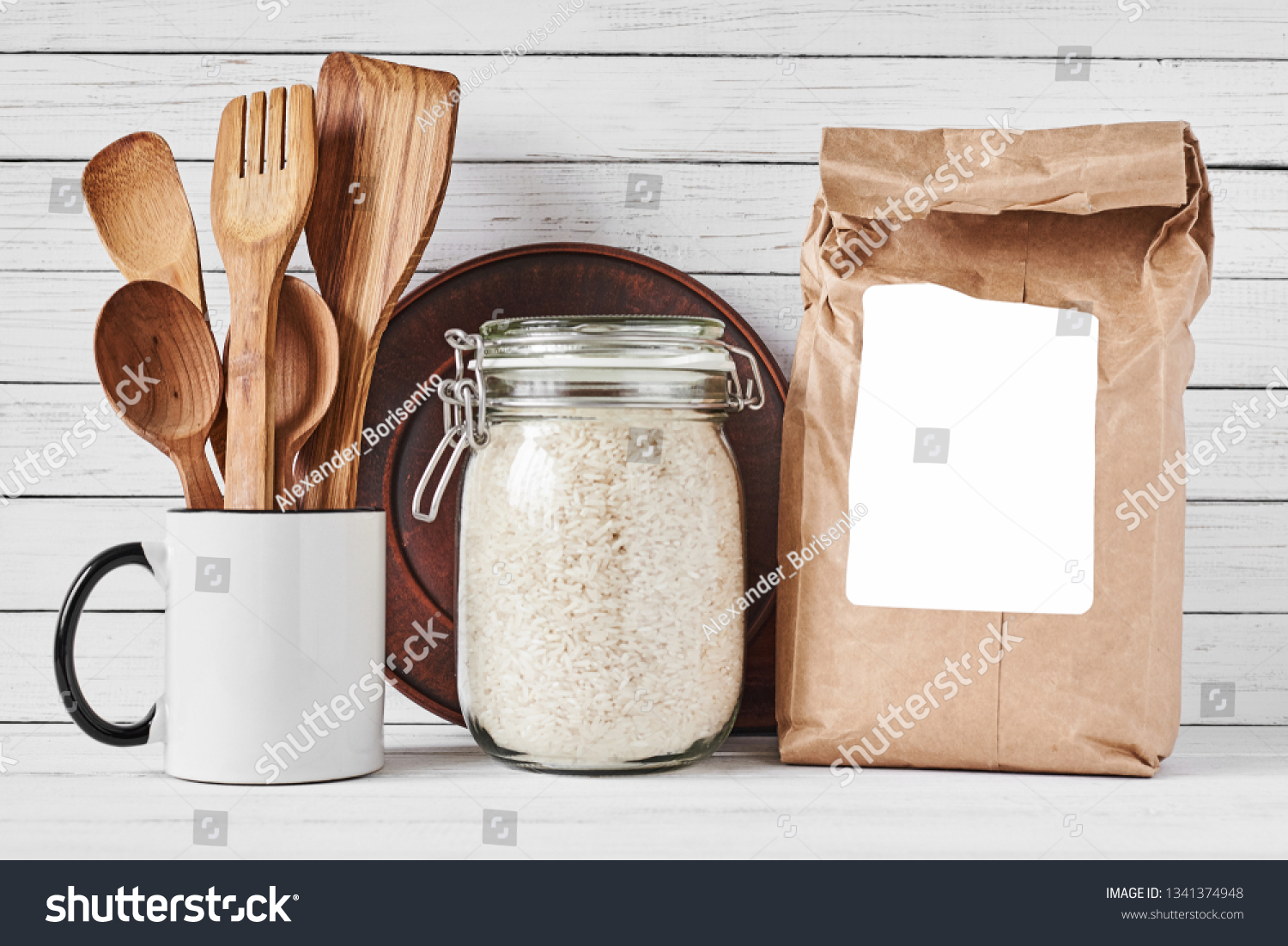 Kitchen Utensils Cup Paper Craft Bag Stock Photo Edit Now 1341374948