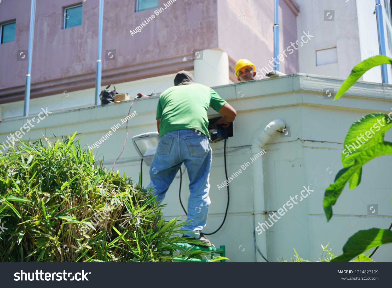 hight resolution of kota kinabalu sabah malaysia oct 28 2018 electrical worker do wiring on commercial