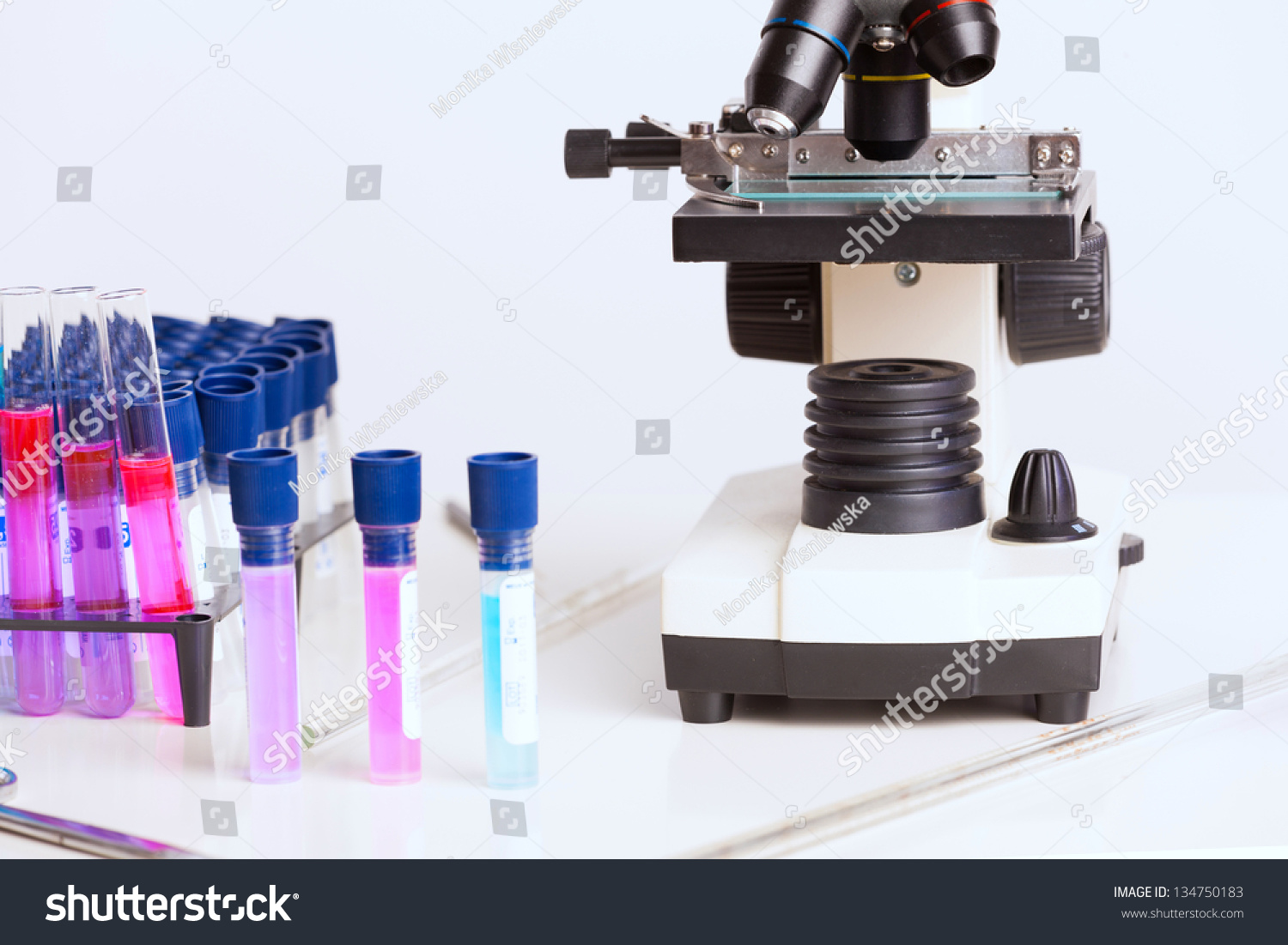 Laboratory Equipment Microscope Test Tubes Filled With Colored Fluid Chemical Flasks Stock