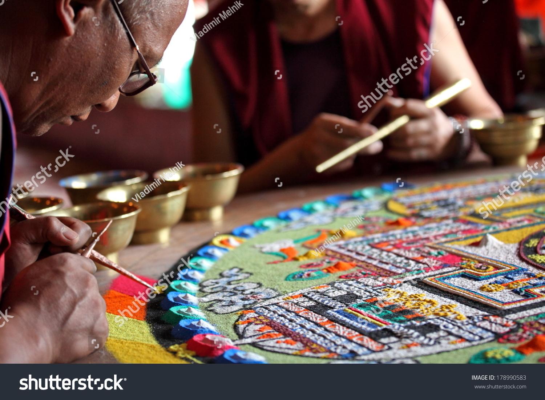 Ladakh, India - September 03, 2011: Buddhist Monks Making Sand Mandala In Diskit Gompa At Nubra Valley. Mandala - Is A Spiritual And Ritual Symbol ...