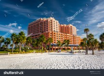 Large Hotel Palm Trees Beach Stock 231154822
