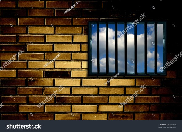 Latticed Prison Window Clear Sky Stock