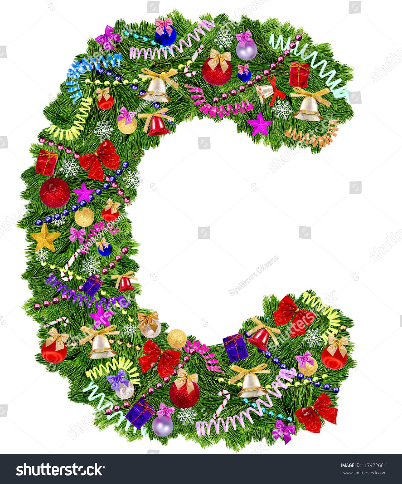 Letter C Christmas Tree Decoration On Stock Photo