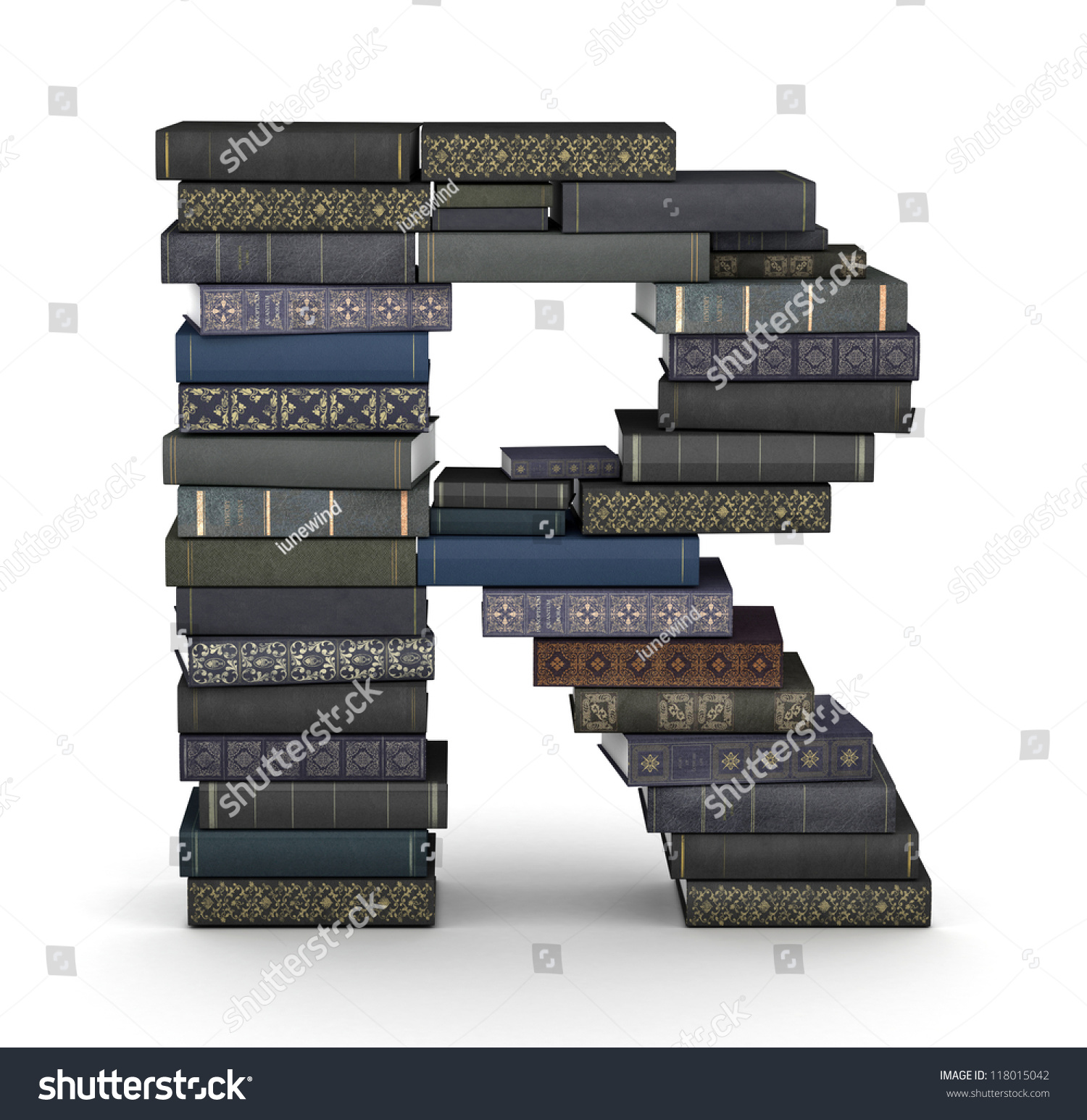Letter R, Stacked From Many Books In Pile Stock Photo 118015042 : Shutterstock