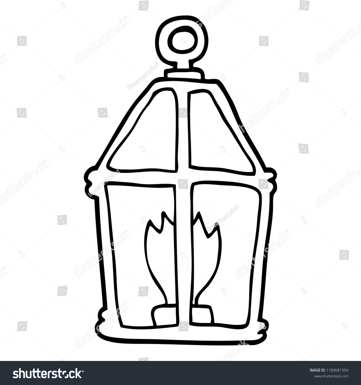 Line Drawing Cartoon Old Lantern Stock Illustration 1180681504
