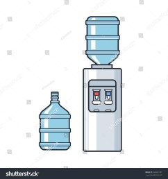 line plastic water cooler with blue full bottle flat illustration on white background  [ 1500 x 1600 Pixel ]