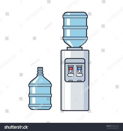 small resolution of line plastic water cooler with blue full bottle flat illustration on white background