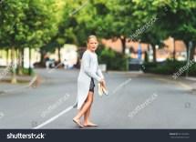 Little Barefoot Girl Walking Street Stock