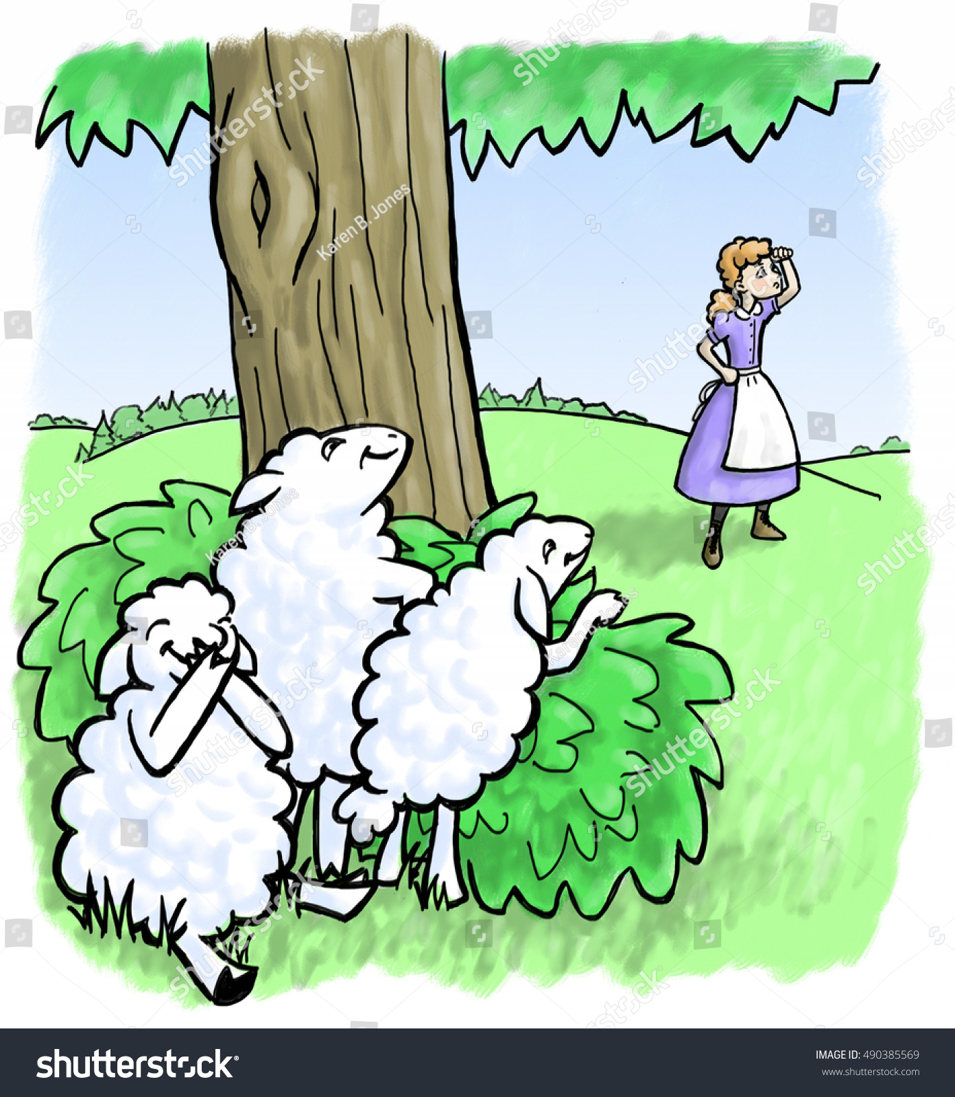 Little Bo Peep Searches Her Missing Stock Illustration