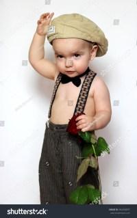 Little Boy Cap Suspenders Bowtie One Stock Photo 364250837 ...