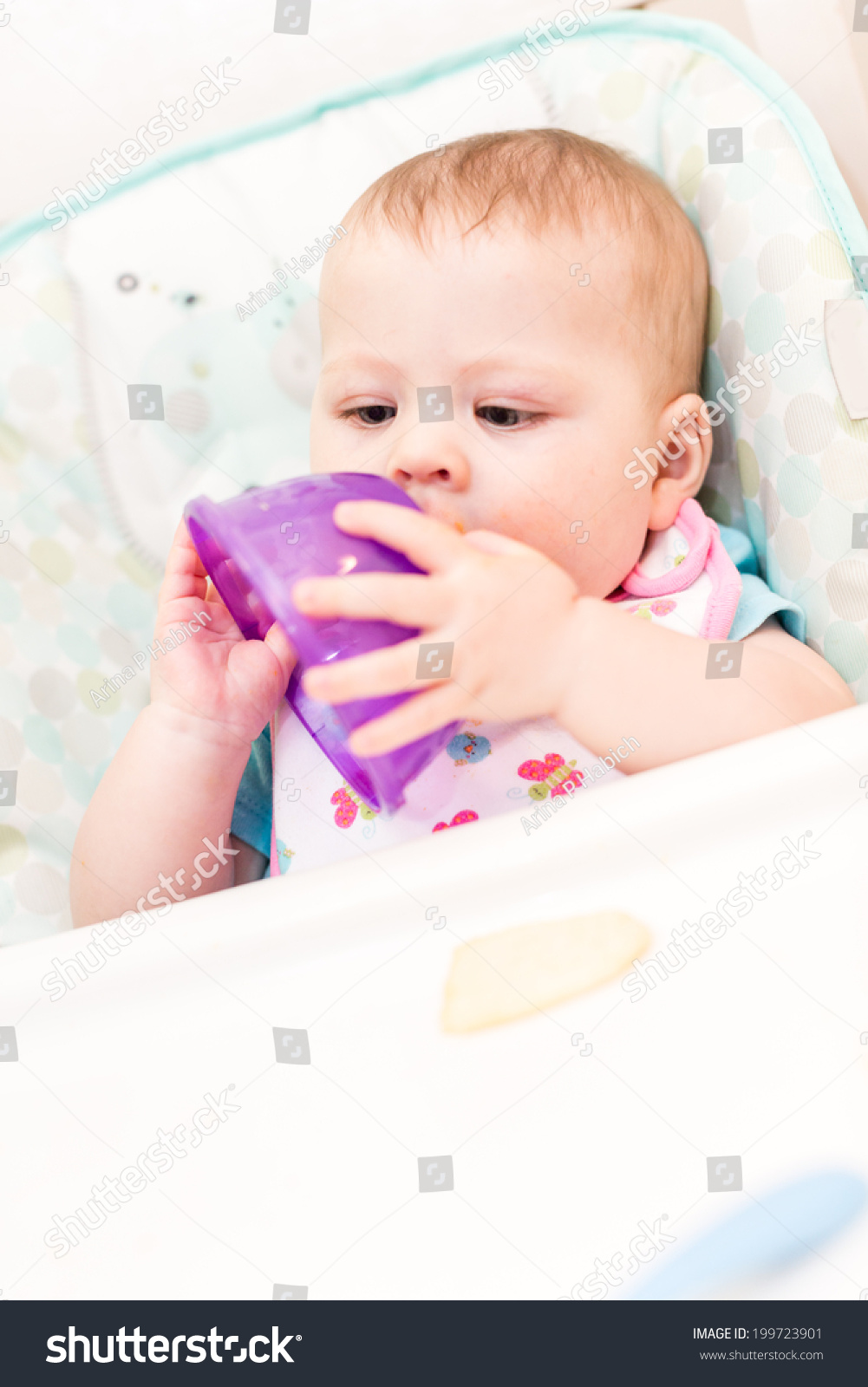 Baby Food Chair Little Girl Eating Baby Food High Stock Photo Edit Now 199723901