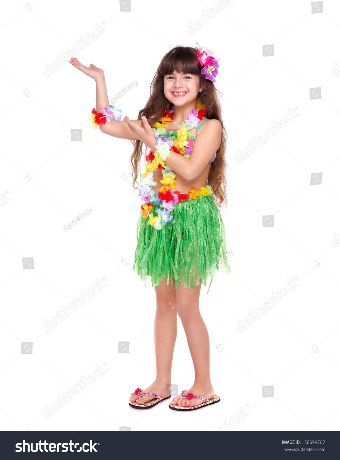 Little Girl Wearing Hawaiian Dress Dancing Stock Photo