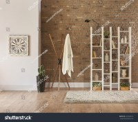 Living Room Interior Bookshelf Behind Natural Stock Photo ...