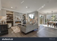 Living Room Interior Gray Brown Colors Stock Photo ...