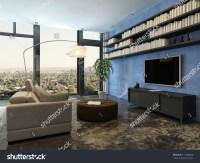 Living Room Interior Bookshelf On Blue Stock Illustration ...