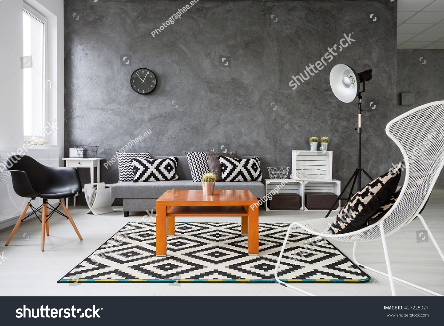 grey white orange living room wood paneling walls wooden stock photo edit now 427225927 with and parquet black decorations