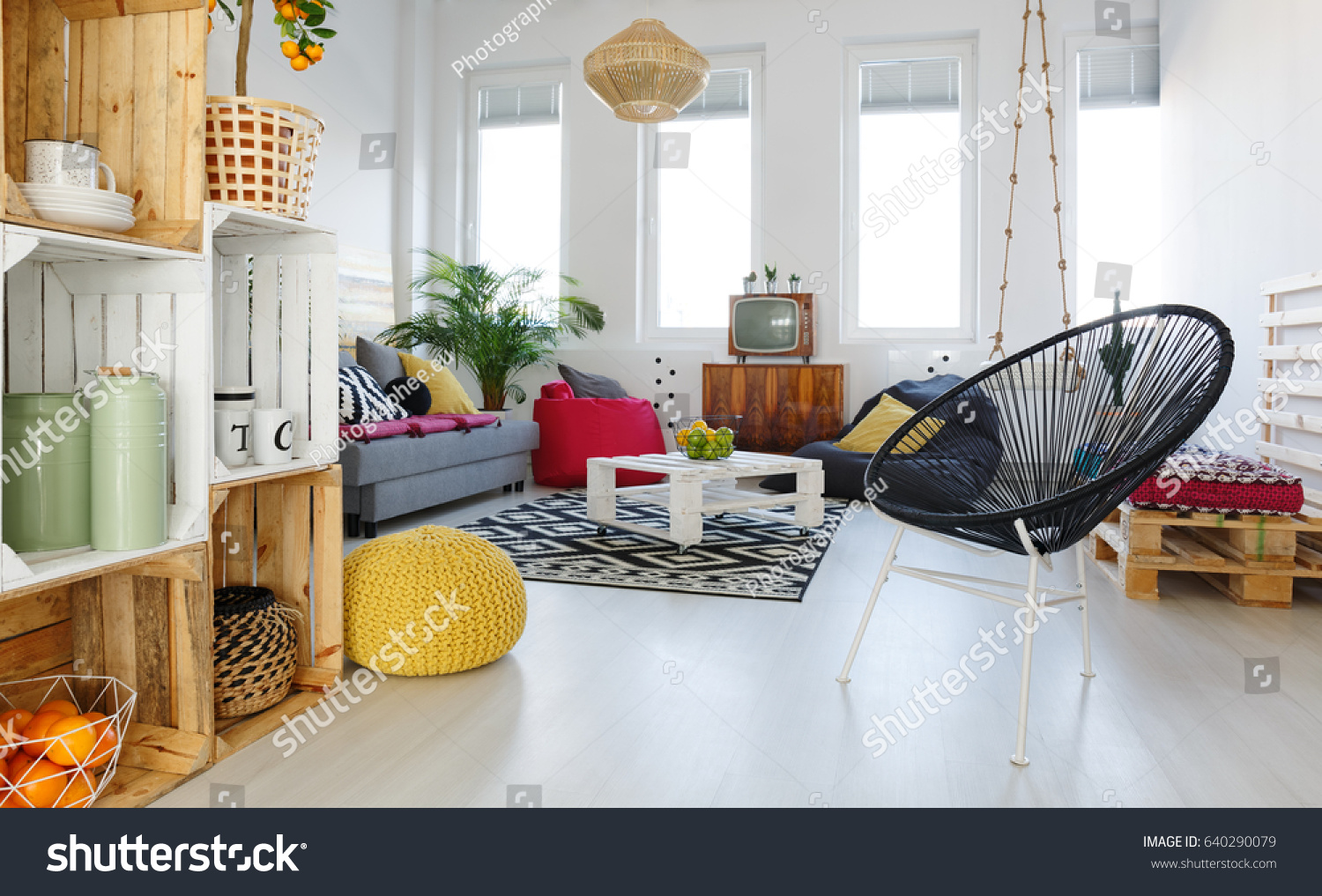 pouf in living room tv unit designs for round chair yellow stock photo edit now 640290079 with sofa pallet furniture