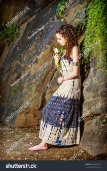 Lonely Girl Dressing Patterned Long Dress Stock