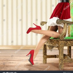 Red Heel Chair Retro Lawn Chairs Long Legs Of Woman In Heels And Santa Stock