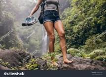 Young Women Walking Barefoot