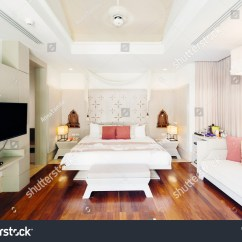 How To Make A Hotel Sofa Bed More Comfortable Empire Antique Luxury Bedroom Interior Tv Stock Photo