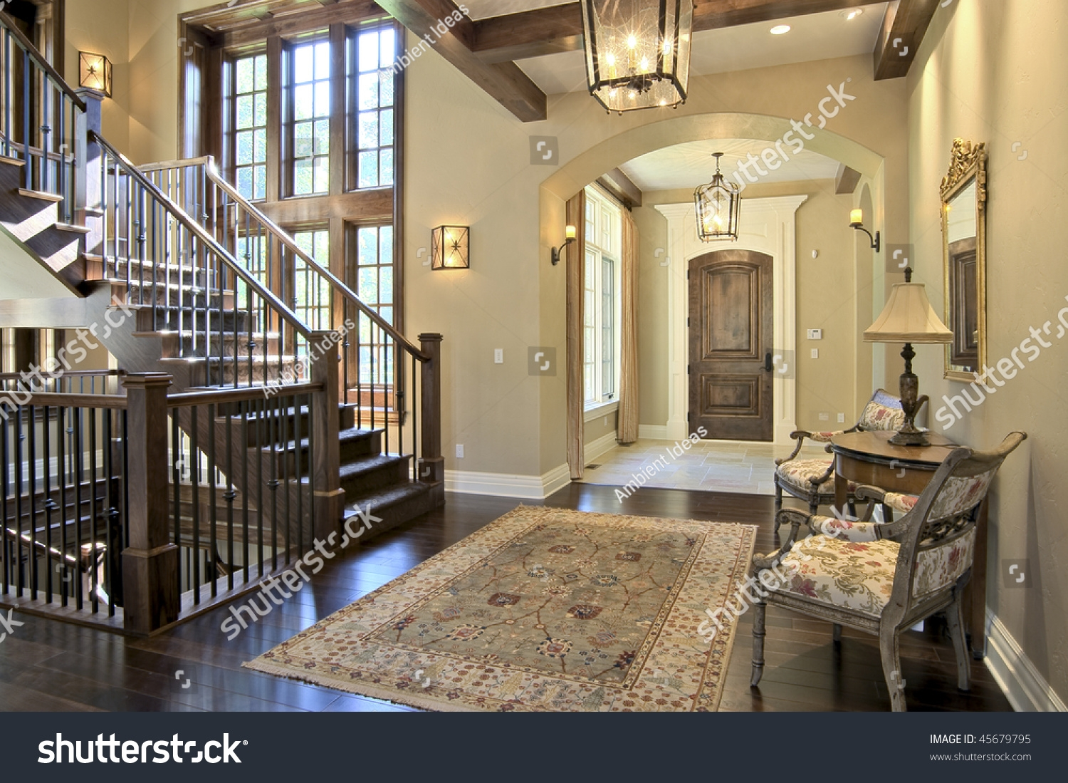 Luxury Home Entrance Stairway Stock Photo Edit Now 45679795   Home Entrance Stairs Design   Interior   Bedroom Home Kerala   Garden   Architecture   Fancy House
