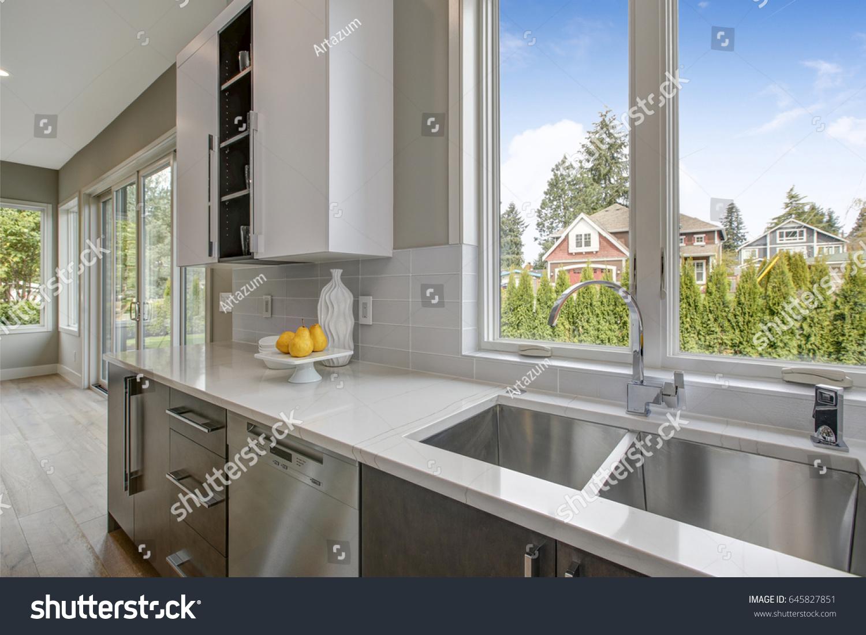 https www shutterstock com image photo luxury kitchen blue glass subway tile 645827851