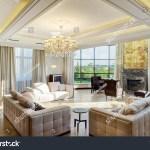 Luxury Living Room Big Windows Panoramic Stock Photo Edit Now 579085207