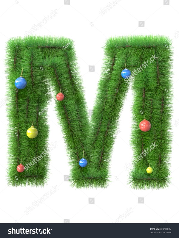 M Letter Made Of Christmas Tree Branches Isolated On White ...