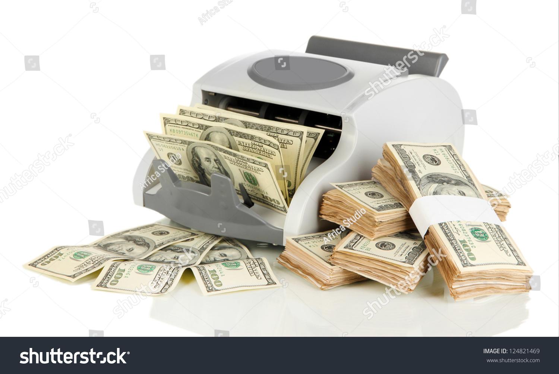 Machine Counting Money 100 Dollar Bills Stock Photo