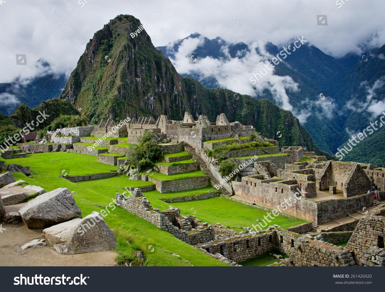 Machu Picchu In Peru Unesco World Heritage Site Stock