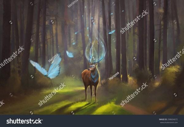 Magic Deer Walking In Forest. Spirit Of Stock 298604672 Shutterstock
