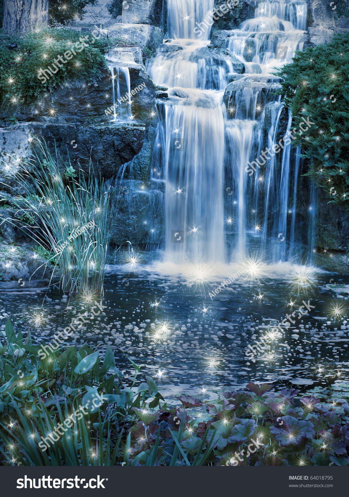 Cool Fall Wallpaper Magic Night Waterfall Scene Stock Photo 64018795