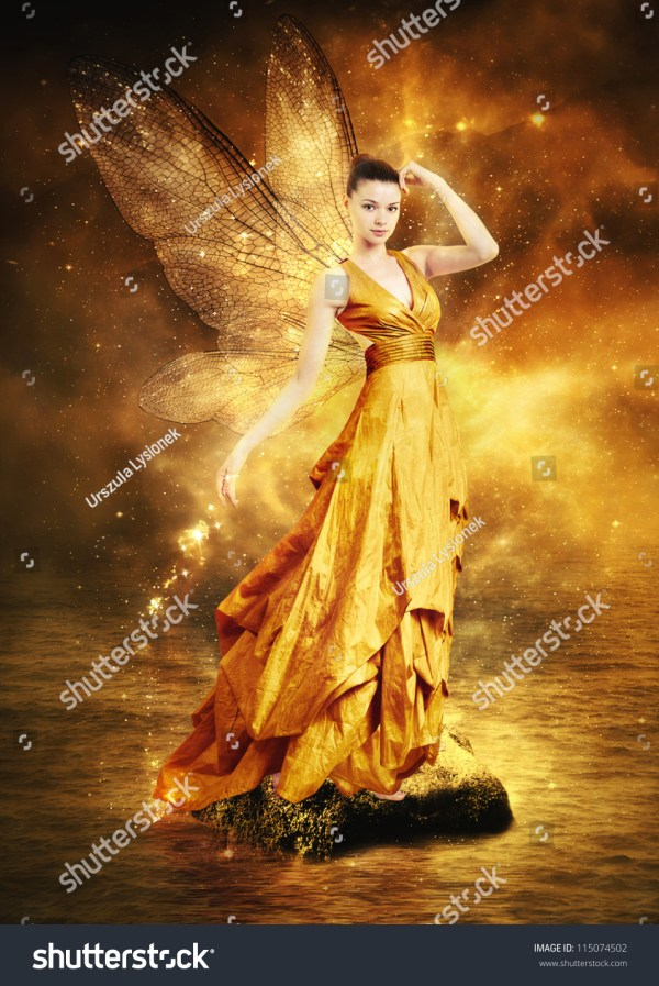 Magical Young Woman Golden Fairy Wings Stock