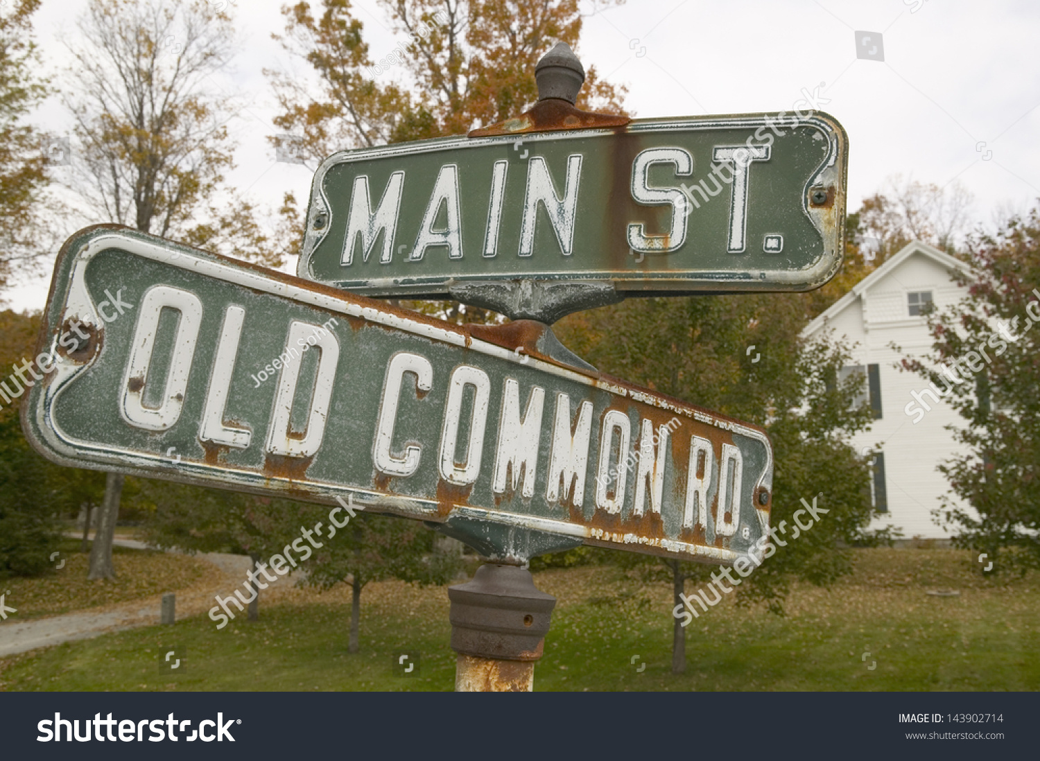 Main Street Old Common Road Sign Stock Photo