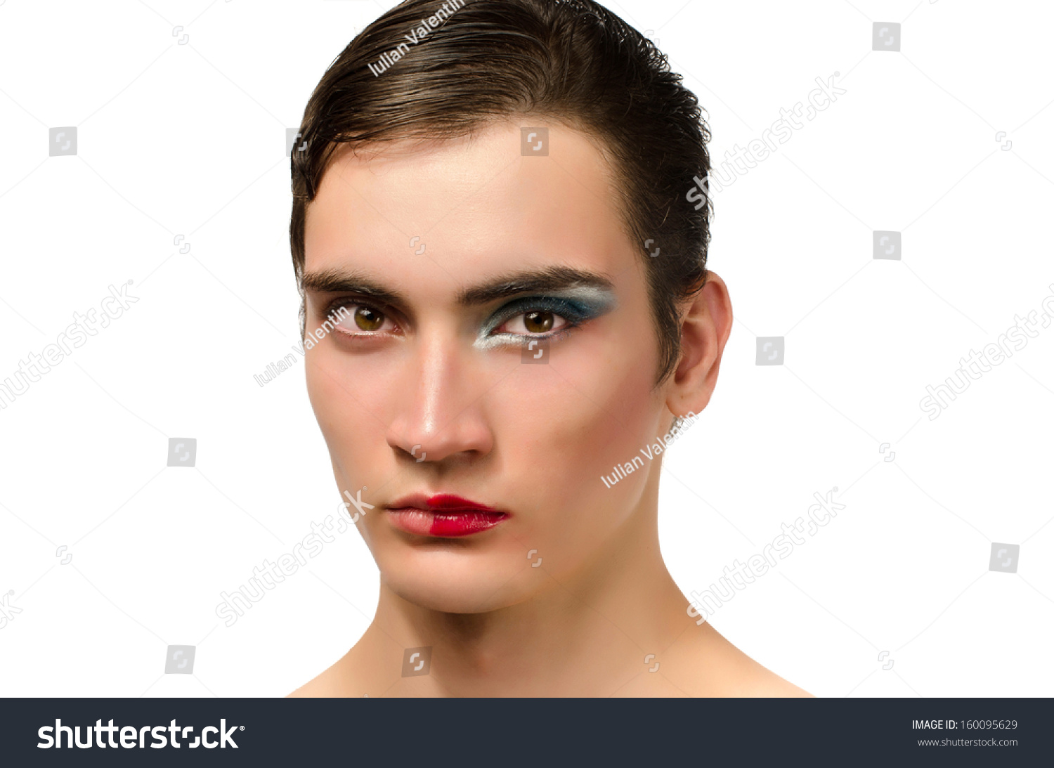 Man Wearing Make Up Portrait Of A Drag Queen Half Face
